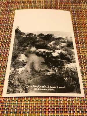 Vintage RPPC Postcard Iron Ore Creek St. James Beaver Island Michigan MI