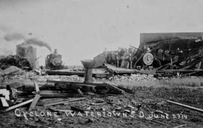 Vintage 1914 C&NW Railroad Wrecked Locomotive Two RPPC Postcard Watertown S.D.