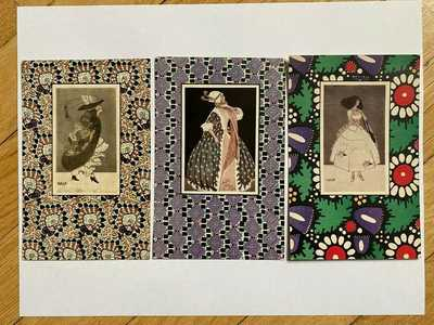 3Antique Mela Koehler Wiener Werkstatte Stoff-Reproduktion Art Nouveau postcards