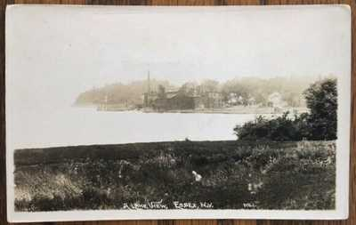 ESSEX, NEW YORK: Town View From Across Lake Champlain Inlet, 1924 pmk, RPPC