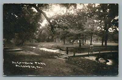 Park Bridge ALGONQUIN Illinois RPPC McHenry Kane County Antique Photo 1930