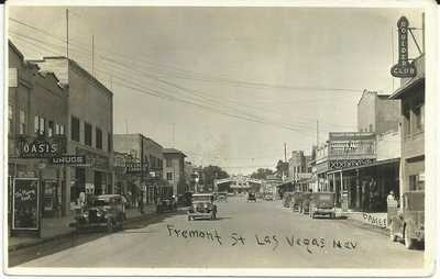 Las Vegas Nevada Real Photo RPPC Fremont Street Vintage 1930 Postcard