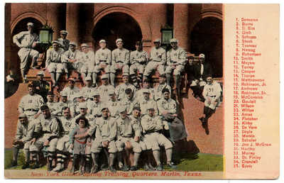 New York Giants Baseball Spring Training Marlin Texas circa 1912