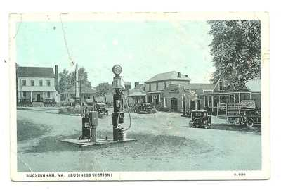 1930 BUCKINGHAM VA STREET - CSA MONUMENT - TALL GLASS GLOBE GAS PUMP - BURGESS