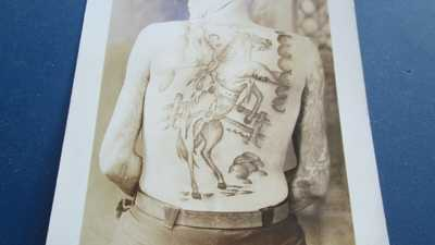 ca.1905 ''RIDE EM COWBOY'' BACK PIECE TATTOO RPPC NORFOLK ? NICE & RARE