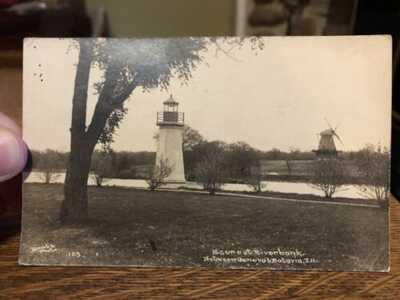 RPPC Postcard Scene At Riverbank Between Geneva & Batavia Illinois IL