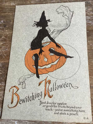 Vintage HALLOWEEN POSTCARD NASH, SERIES 26, BEWITCHING HALLOWEEN Unused Witch