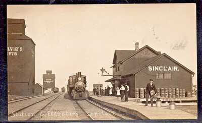 RPPC Station and Elevators Sinclair Manitoba posted 1911 to Antler Sask.