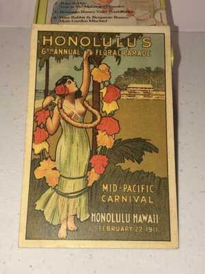 1911 Honolulu Hawaii Mid-Pacific Carnival hula Girl Leis Advertising Postcard