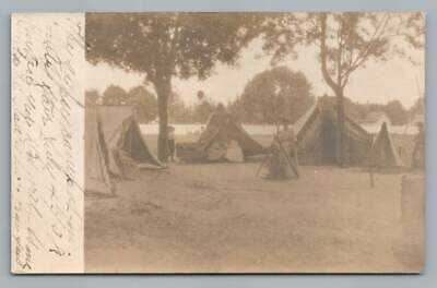 """Camping at County Fair"" SMYRNA Delaware RPPC Antique Kent County Photo 1908"
