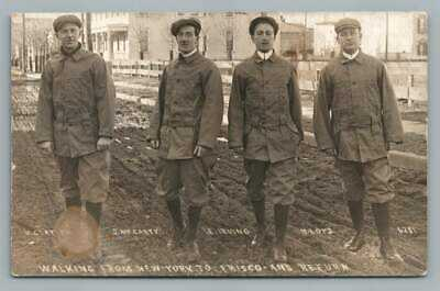 Men Walking from NYC to San Francisco RPPC Long Distance Walkers Photo 1910s
