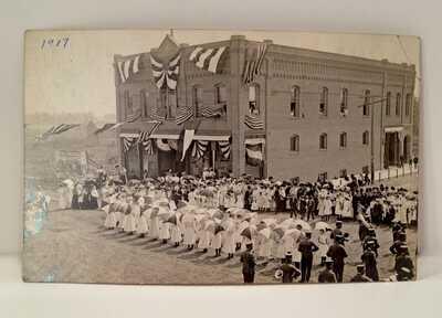 Vintage 1917 Suffragette March The Big Store Minneota Minnesota RPPC Postcard