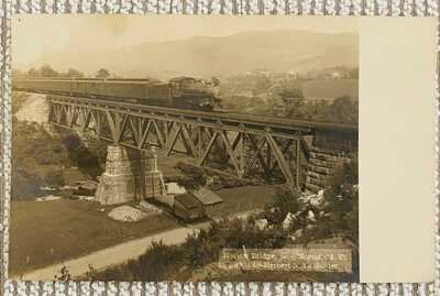 Northfield, Vt. A Divided Back, Real Photo of Hayiow (?) Railroad Train Bridge
