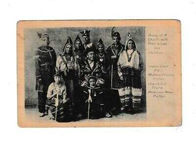 Postcard 4 Indian Chiefs With Wives Chief Matthew Frances Signed Sent To Chief