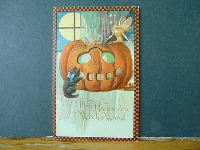 HALLOWEEN POSTCARD, JOHN WINSCH, SAMUEL SCHMUCKER, Witch's Wand