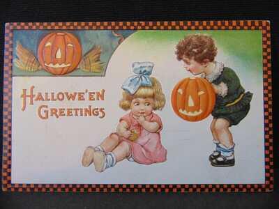 3 Embossed Halloween Postcards   (16)
