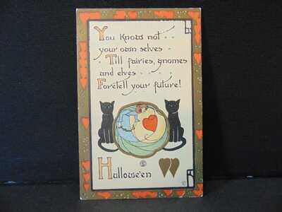 Vintage Embossed Halloween Postcard Black cats