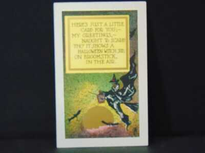 Vintage Embossed Halloween Postcard Witch on broom