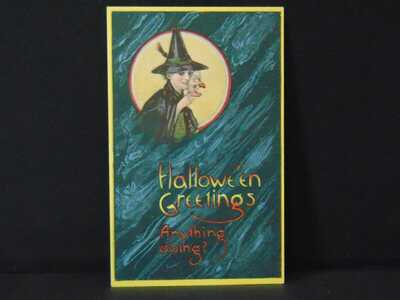 ANTIQUE HALLOWEEN POSTCARDS witch with pointed hat and mask