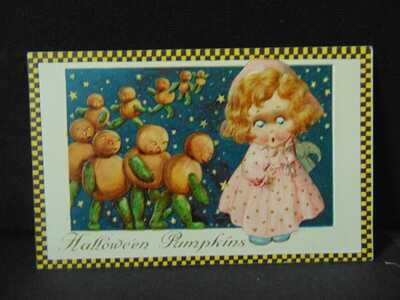 Winsch Freixas Halloween Postcard Halloween Greetings JOL cute girl