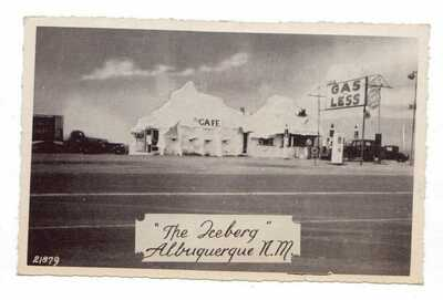 "1943 WW II era Route 66 view of ""The Iceberg"" Cafe & Gas Station Albuquerque, NM"