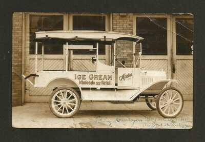 RPPC Real Photo Postcard MARTINS ICE CREAM TRUCK Sandusky Ohio Circa 1916