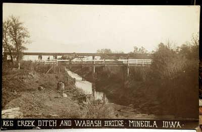 MINEOLA, IOWA Photo Post Card 1913, Mills Co. KEG CREEK DITCH and WABASH BRIDGE