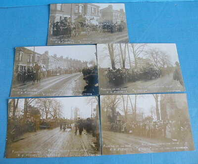 5 RP POSTCARDS Funeral Parade Enfield,Sea Scout Purnell, Gravesend Disaster 1913