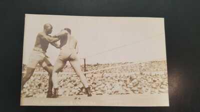 Vintage Original Boxing Postcard: Jack Johnson v James Jeffries. Dana Photo.1910