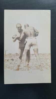 Vintage Original Boxing Postcard: Jack Johnson v James Jim Jeffries. Dana Photo.