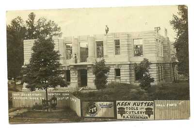 RARE 1909 NEWTON IA REAL PHOTO RPPC COURT HOUSE - KEEN KUTTER SIGN - HALL IMAGE