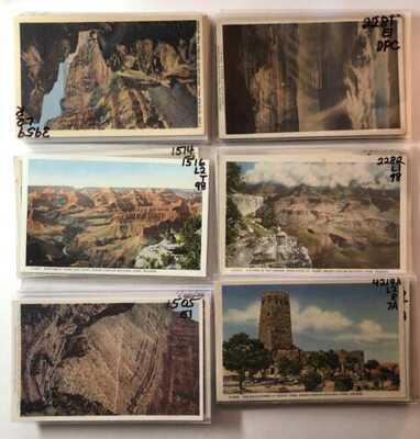 73 lithog/linen postcards Fred Harvey Grand Canyon 1915 - mid century 73 pcs lot