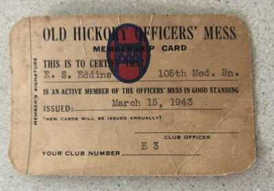 Vintage Rare World War II Mess Hall Card 1943  30th Infantry Division Army Guard