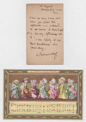 1886 Kate Greenaway Marcus Ward Victorian Trade Card & Rare Signed Postcard Note
