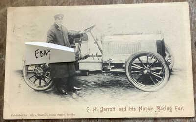 Charles Jarrott and his Napier Race racing car vintage Postcard 1903 Automobile