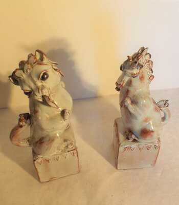 Stanislas Reychan  Studio Pottery Lion & Unicorn pair Circa 1950/60 Coronation?