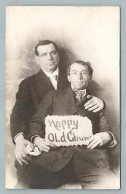 """Happy Old Chums"" Gay Interest Antique Studio Photo Men RPPC Postcard 1910s"