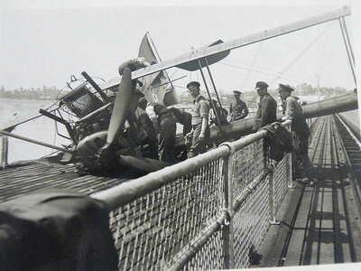 early B/W RP POSTCARD - Aircraft Crash, Felixstowe Pier, Suffolk. May 1920