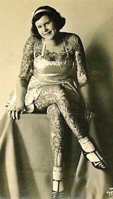 BETTY BROADBENT TATTOOED LADY RINGLING BROTHERS CIRCUS SIDESHOW REAL PHOTO