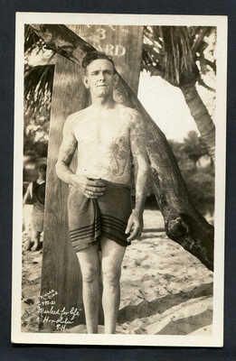 """HAWAII,""""MARKED FOR LIFE"""",EARLY TATTOOED SURFBOARD RIDER WITH SURFBOARD,UN,NIELEN"""