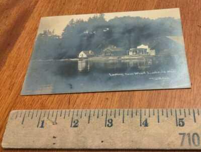 1910 RPPC PHOTO POSTCARD WHARF LAKE SCENE LISABEULA VASHON WASHINGTON THERKELSEN
