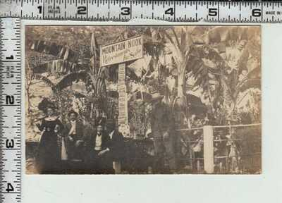 """RPPC - SANTA BARBARA - People at sign """"MOUNTAIN NOOK Refreshments for Sale"""""""