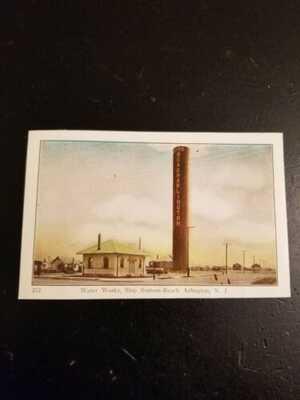 Arlington NJ Postcard RARE Water Works Tower Ship Botton-Beach Hudson County