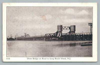 Draw Bridge LONG BEACH ISLAND Vintage Barnegat New Jersey Shore Postcard 1930s