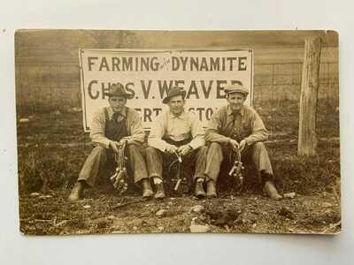 RPPC real photo Chas. V. Weaver - Farming with Dynamite  postcard 1913
