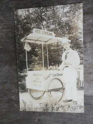 Real Photo Postcard Shorty's Ice Cream Cart Jensma Creamery Nampa Idaho RPPC