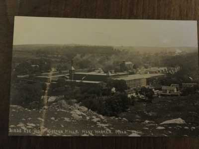 Birds Eye View Cotton Mills, West Warren, Mass, MA, RPPC, Real Photo
