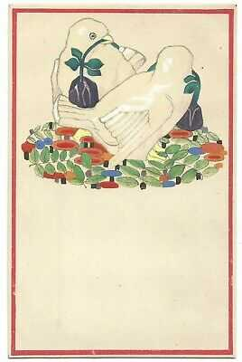 Wiener Werkstatte No. 545, Birds with Flowers, Old Postcard