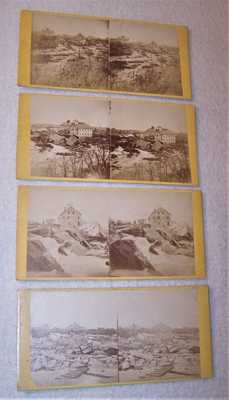 Scarce 4 pc. Set 1869 SV Photos - Ruins at Falls of St. Anthony Falls - Upton