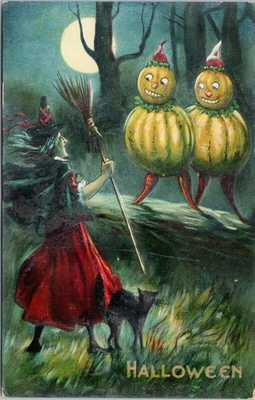 Halloween Witch Black Cat Green Pumpkin People Postcard E76